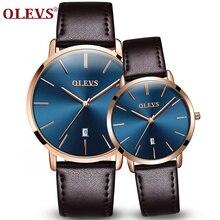 OLEVS Top marca de luxo Mulheres Senhoras Relógios Homens Assistir relogio feminino masculino Utra fino Moda Couro Genuíno relógio Casal