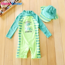 Brand Newborn Baby Swimwear Boy One Piece Dinosaur Print Sun Protection Long Sleeve Infant Boys Swimsuit Bathing Suit Beachwear
