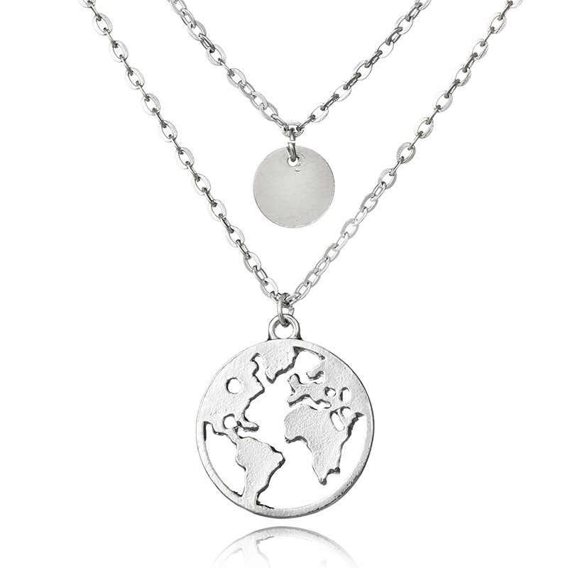 2018 New World Bản Đồ Mặt Dây Chuyền Vòng Cổ cho Phụ Nữ món quà Silver Gold Kim Loại Xinh Xắn Cầu Trái Đất Lớp Vòng Cổ Globe Globetrotter Collares