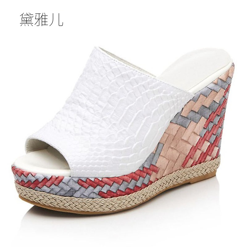 2018 White or Black Summer Style Sexy Sandals Women's Wedges Slippers Ultra High Platform Heels for Shoes Woman Wedding Ladies 2017 size 35 43 black slippers sexy women platform sandals ladies pumps high heels shoes woman summer style chaussure femme