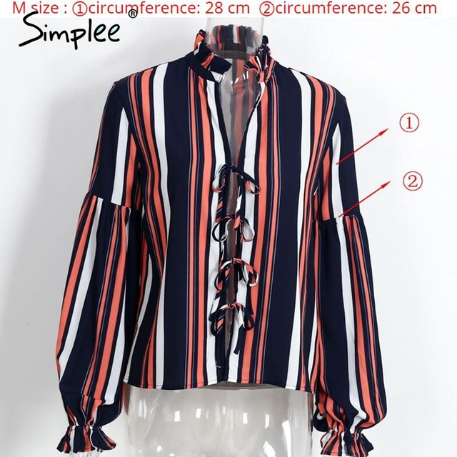 Simplee Lace up chiffon blouse shirt Sexy v neck lantern sleeve shirt women Winter 2016 cool blouse striped blusas