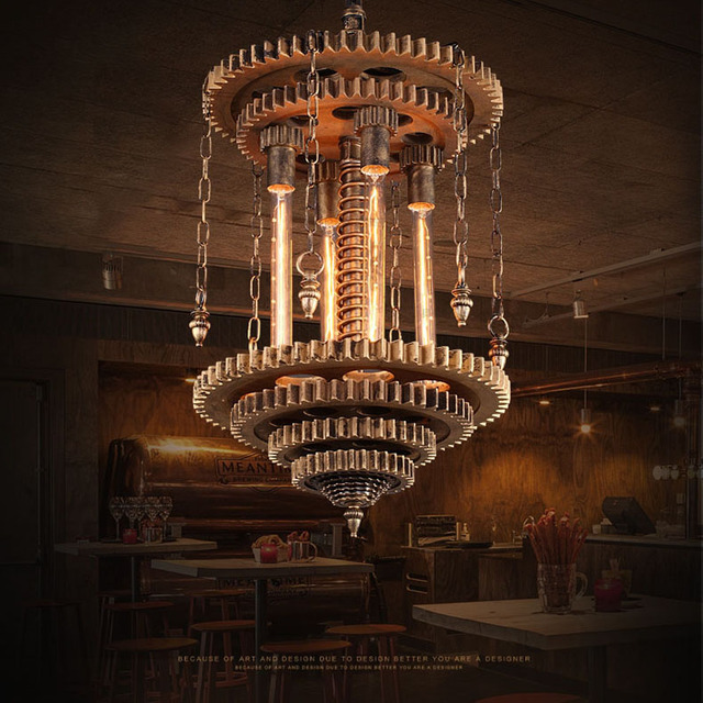 industrial bar lighting. industrial loft wrought iron pendant lights creative gear lamp bar lighting engineering suspension water pipe