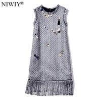 NIWIY Brand di fascia Alta Senza Maniche Nappe Tweed Vestito Delle Donne Vestido 2018 Lane di Autunno Che Borda Vestiti Da Partito Nero Veste Hiver N8323