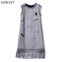NIWIY Brand High End Sleeveless Tassels Tweed Women Dress Vestido 2017 Autumn Wool Beading Black Party