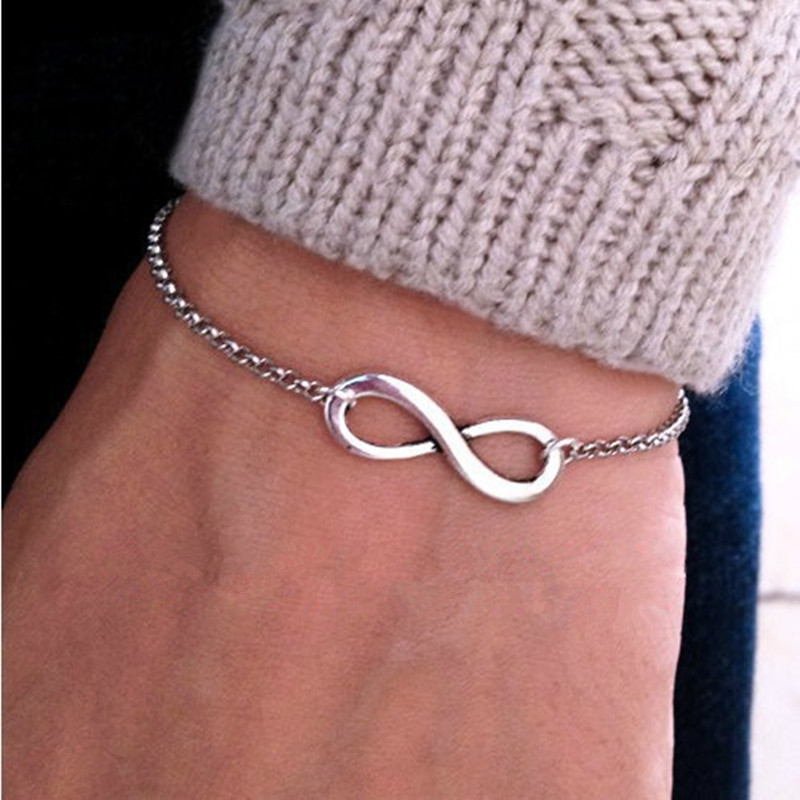8-Design Bracelet Bangles Charm Infinity-Shape Gold-Color Silver-Plated New-Fashion Sideways