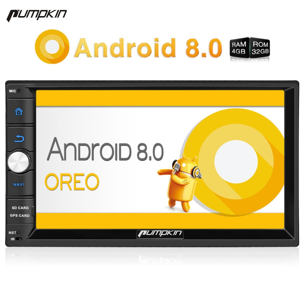 Pumpkin 2 Din 7'' Android 8.0 Universal Car Radio No DVD Player GPS Navigation 4GB RAM Car Stereo FM Rds Wifi 4G DAB+ Headunit joyous j 2611mx 7 touch screen double din car dvd player w gps ipod bluetooth fm am radio rds