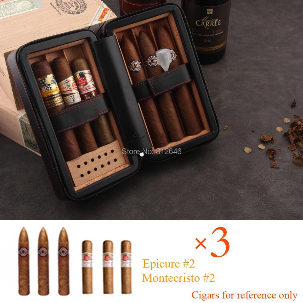 GALINER Travel Cigar Humidor Box Leather Cigar Case Set W/ Humidifier Cedar Wood Portable 4 Holder Cigar Box For COHIBA Cigars