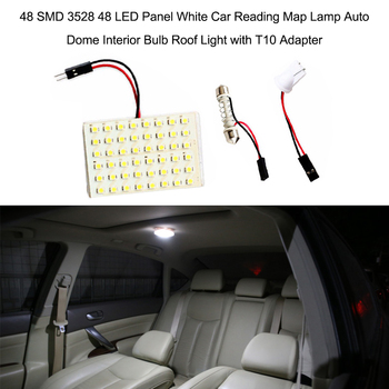 48 SMD 3528 12 LED Panel White Car Reading Map Lamp Auto Dome Interior Bulb Roof Light for bmw e46 e90 ford focus 2 volkswagen image