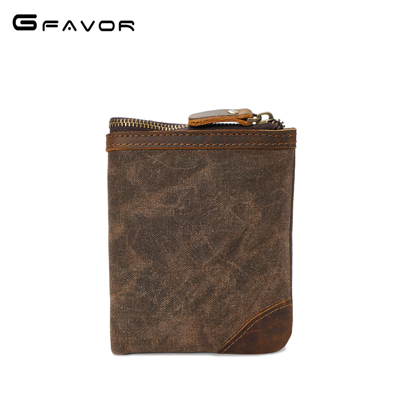 Vintage Canvas Wallets Men Waterproof Zipper Wallet Small Coin Purse Fashion Male Casual Crazy Horse Leather Card Holder Wallet men wallet crazy horse genuine leather purse money vintage zipper card holder coin photo high quality 2017 male wallets casual