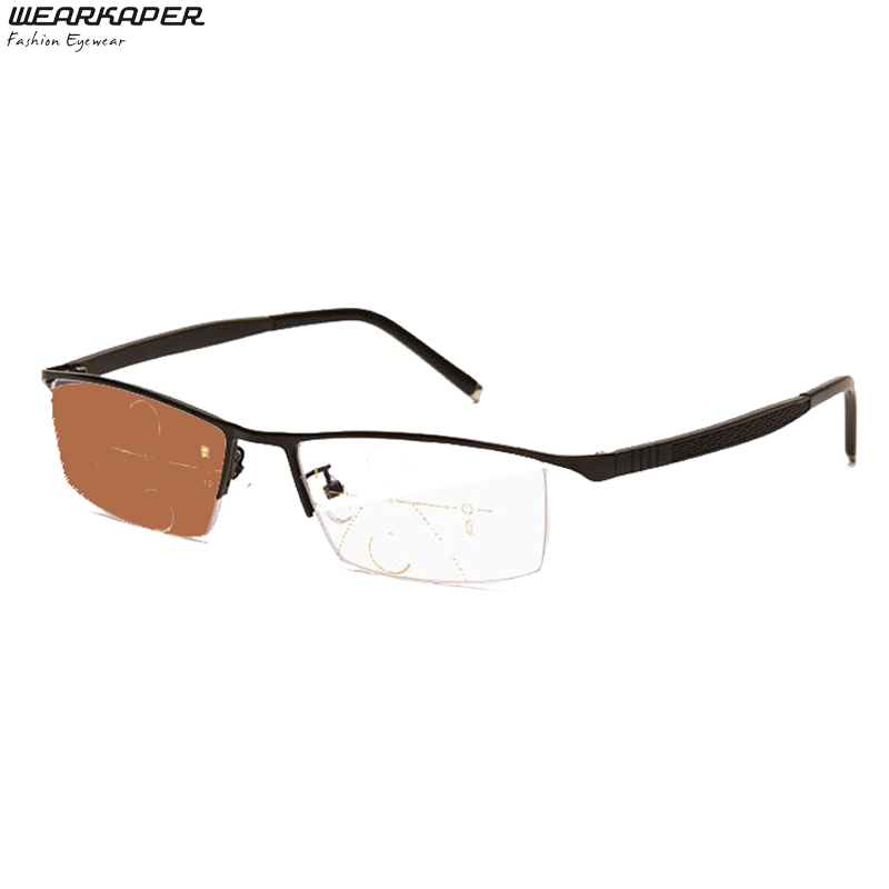 WEARKAPER Titanium Alloy Progressive Smart Zoom Photochromic Reading Glasses Fashion Classic Multifocal Glasses for Men