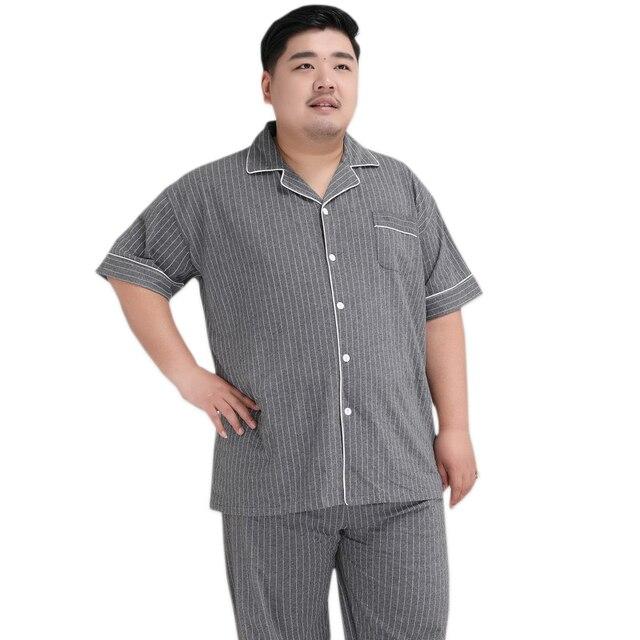 Plus Kích Thước 5XL Sang Trọng Striated 100% Cotton Pyjama Bộ Nam Đơn Giản Áo Tay Ngắn Quần Ngủ Khoác Nam Pyjamas