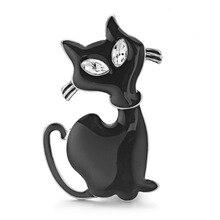 Cute Black Cat Brooch Pins Rhinestone Eyes Jet Cat Animal Brooches For Women Men Collar Cat Hats Jewelry Best Gift DZ068