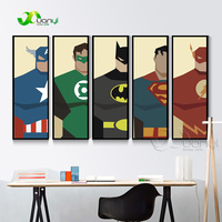 5 Panel Super Hero Superman Batman Poster Canvas Print Modern Painting Home Decor Wall Pictures For