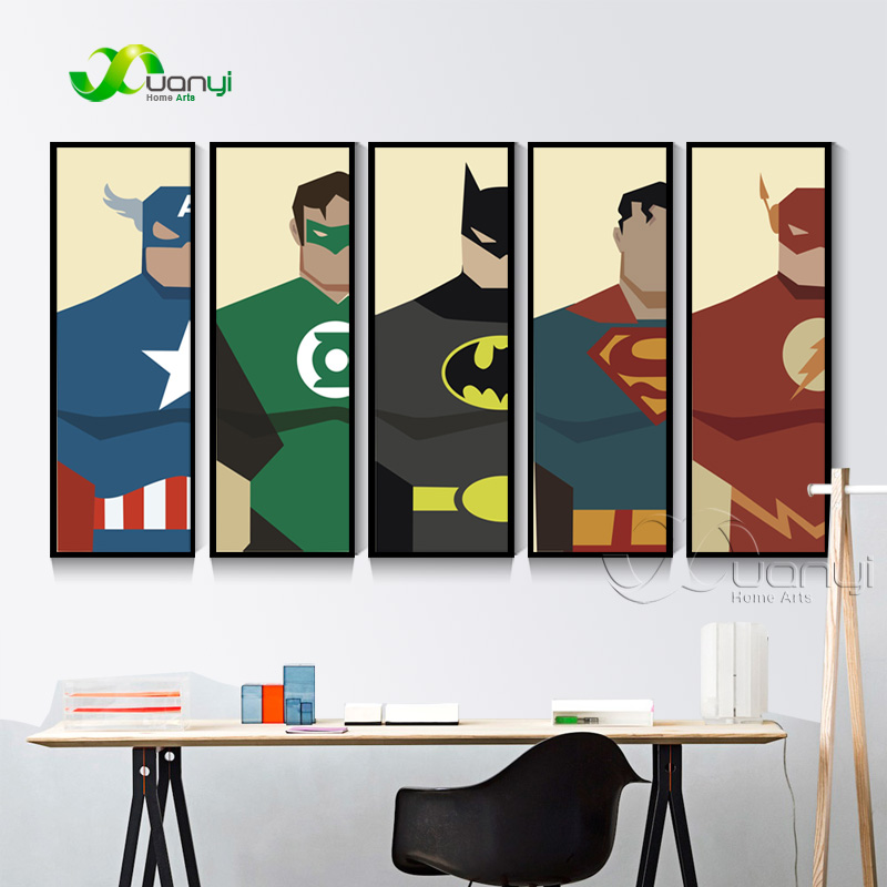 5 Panel Super Heros Lerret Maleri Plakat Og Skriv Ut Batman Superhero Dekoration For Kids Room Decoration Vegg Bilde Unframed
