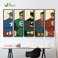 5 Pannello Moderna Dipinti Murali Super Heros Immagine Stampe Su Tela Decorazione Della Parete di Arte Per La Camera Dei Bambini Supereroe Batman Dipinto Senza Cornice