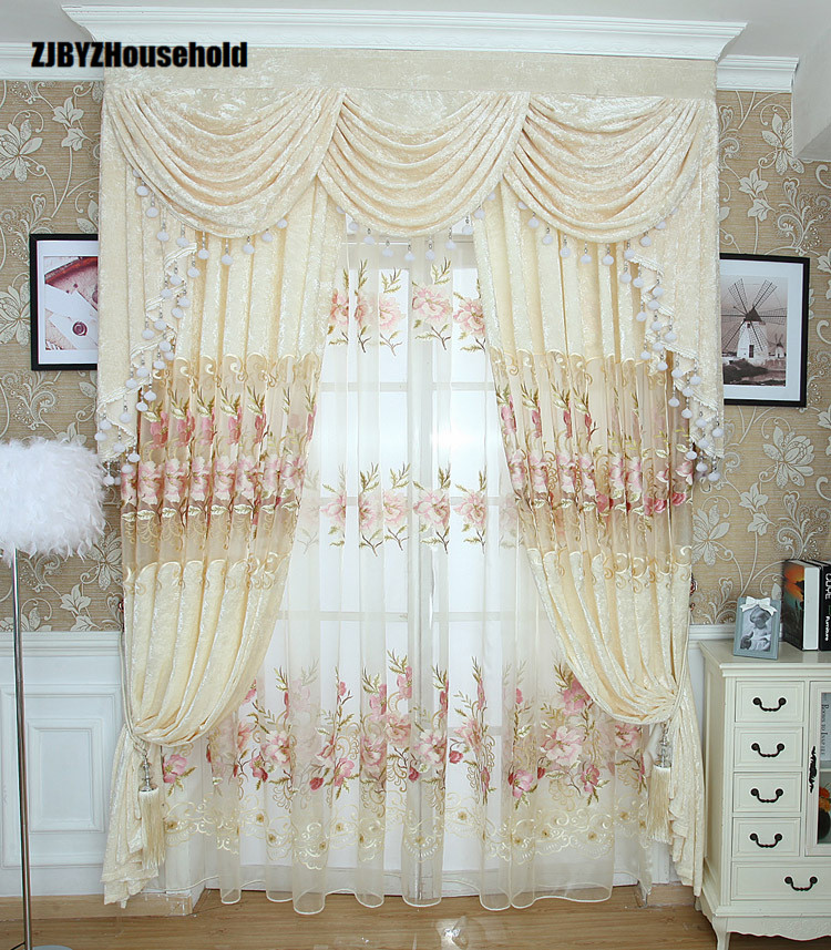 European Garden Embroidered Ice Flower Velvet Embroidered Curtain  Curtains For Living Dining Room Bedroom Valance