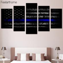 5 Шт. Холсте Флаг США Синяя Линия Печатных Wall Art Home Decor Живопись Холст Аватар Плакатов и Печатает Бесплатная Доставка HA004C