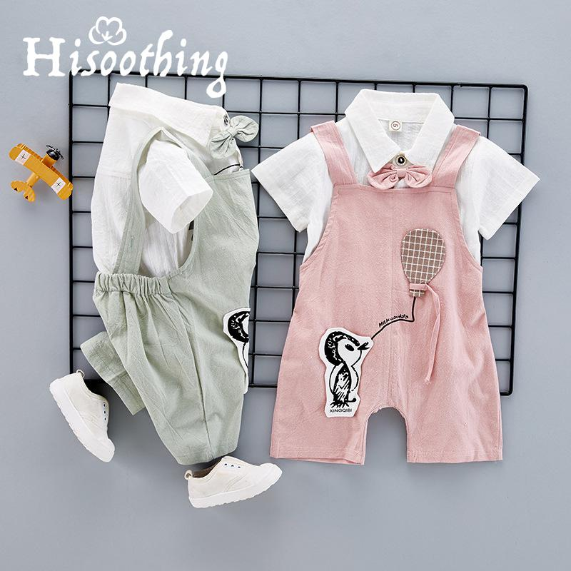 2018 New Baby Boys Clothes Set Summer Casual Kids Cotton shirt+Bib Pant Children's Clothing Sets Baby set two pieces комплект одежды для мальчиков kids clothes sets 2 bib 6m 5y boys clothing sets