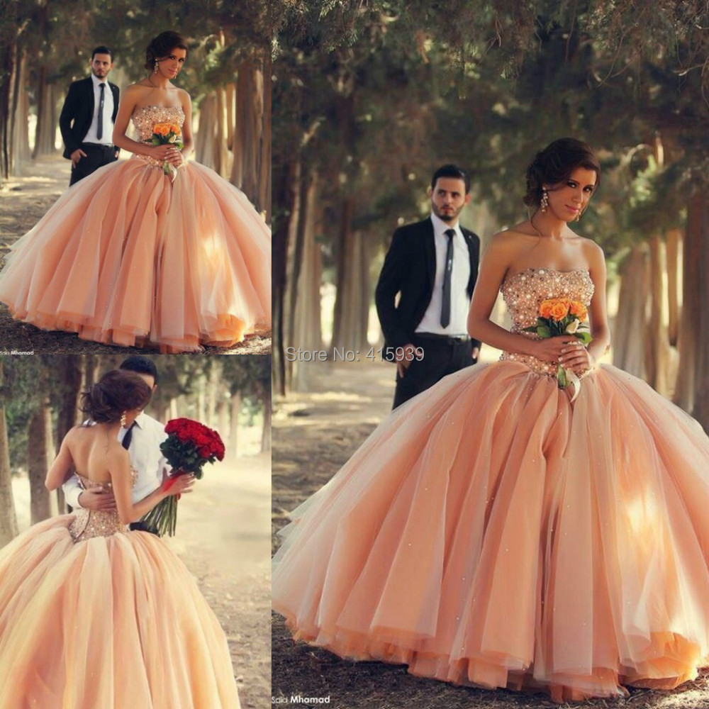 Popular peach pink wedding buy cheap peach pink wedding for Peach dresses for wedding