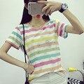 Rayas de colores arco iris de verano en la pequeña capa fresca Camiseta bestie chica estudiante hermana Yuanes Suchao