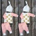 3 PCS Crianças Recém-nascidas Cervo Dourado + Dots conjuntos Meninos Meninas Roupa Do Bebê Roupas Camisa de manga longa Tops + Pants calças + roupas Chapéu