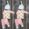 3PCS Newborn Kids Golden Deer + Dots sets Baby Boys Girls Outfit Clothes long sleeve Shirt Tops+Pants Trousers+Hat outfits