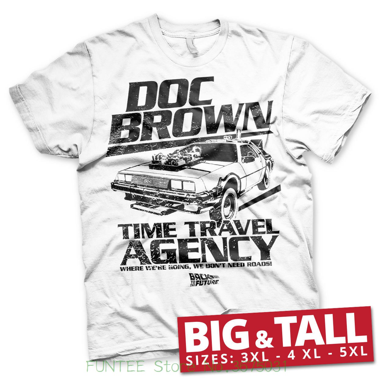 O Neck Tee Shirt Short Sleeve Officially Licensed Doc Brown Time Travel Agency 3xl , 4xl , 5xl Mens T-shirt