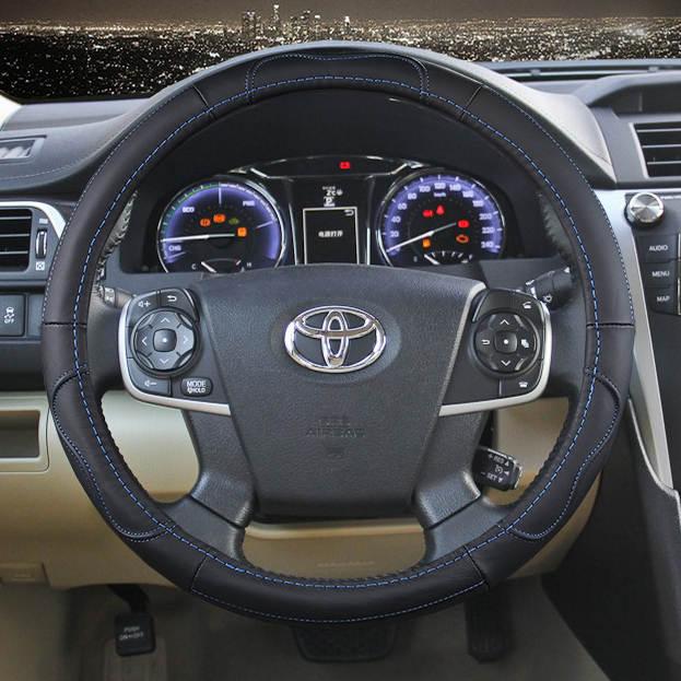 Online 38cm Car Genuine Leather Steering Wheel Cover For Toyota Corolla Vios Reiz Yaris Camry Aurion Rav4 Aliexpress Mobile