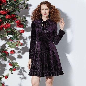 Women Gothic Dress Autumn Long Sleeve A-Line Hollow Robe Fashion Printed Velvet Vestidos Fabric Chic Party Elegant Dresses 2