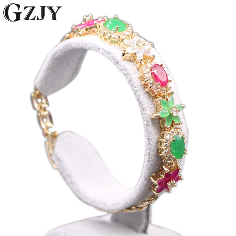 GZJY Beautiful Jewelry Flower Green Zircon Red Crystal Gold Color Charm Bracelets Bangles Lucky Bracelet For Women 2colors D4-1 1 pcs women lucky red string bracelets men jewelry 100% handmade bangles boho style girls gift