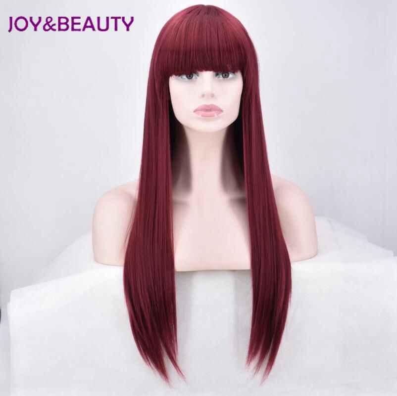 JOY&BEAUTY Women Synthetic hair Long Straight Wig High Temperature Fiber 28 inch Long Burg Color