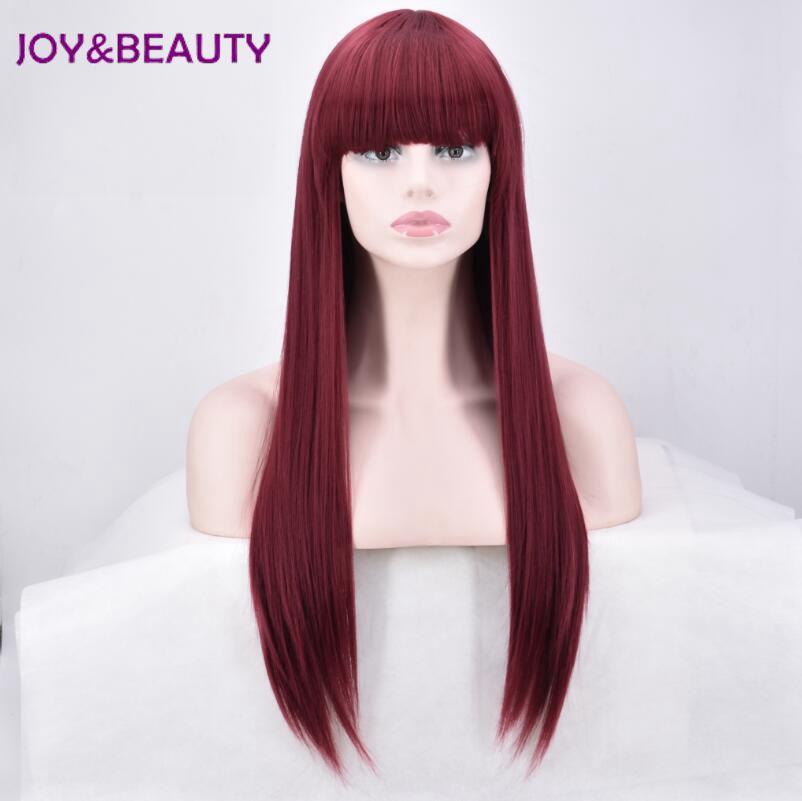 JOY&BEAUTY Women Synthetic Hair Long Straight Wig High Temperature Fiber 28 Inch Long Burg Color