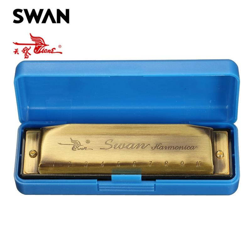 Buy Cheap Discount Swan Harmonica 10 Holes 20 Tones Bronze Color Key