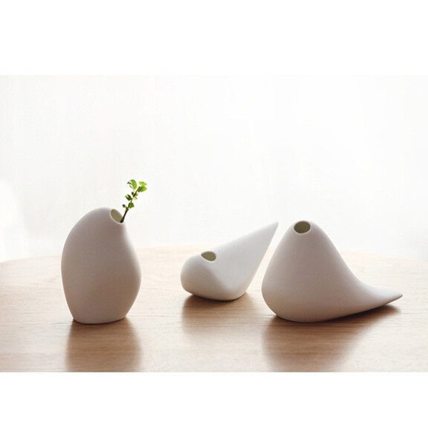 抽象現代の簡単な花瓶白い セラミック花瓶ソフト ボトル装飾無印良品花