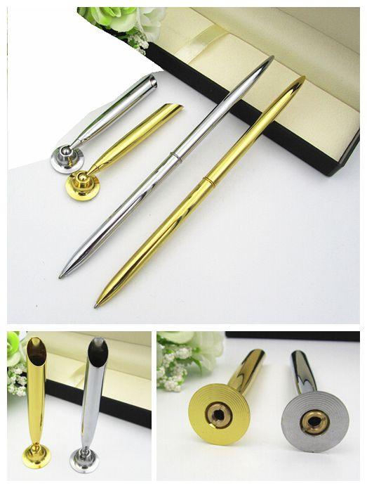 Metallbordspennahållare bollpenna för PR-present har guld- och silverfärg att välja