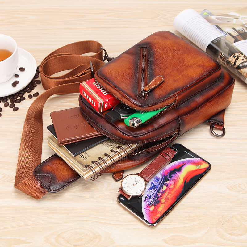 Men 's Cowhide F Chest Bags Genuine Leather Single Shoulder Pack High Quality Cross Body Bag For Man - 6