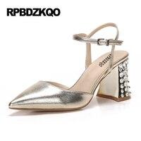 Gun Color Slingback Pumps 3 Inch Celebrity Bride Sandals Crystal Women Gold Party High Heels Pointed
