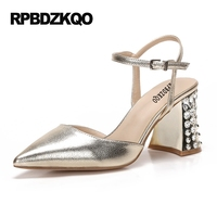 Gun Color Slingback Pumps 3 Inch Celebrity Bride Sandals Crystal Women Gold Party High Heels Pointed