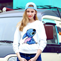 Hot 2016 Autumn Clothing Sweatshirts Women Hoody Plus Size Tracksuit Cute Cartoon Print Animal stitch Hoodies White Pullovers
