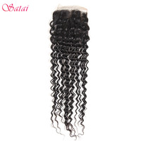 Satai Hair 4x4 Lace Closure Brazilian Deep Wave Remy Hair 10 20inch Natural Color 100 Human