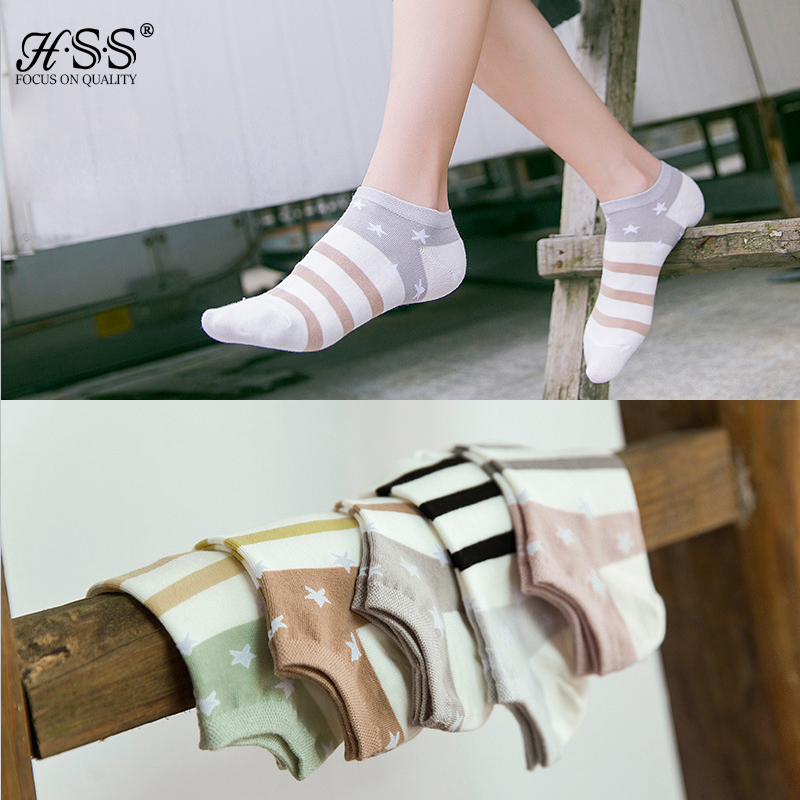 The New Stripe Five-pointed Star Print Sock Female Socks Korean Version White Shoes Women's Socks Thin Cotton Socks For Men Girl