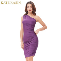 Kate Kasin Off Shoulder Sexy Vintage 1950s Summer Dress Long Sleeve Straight Neckline High Stretchy Bodycon