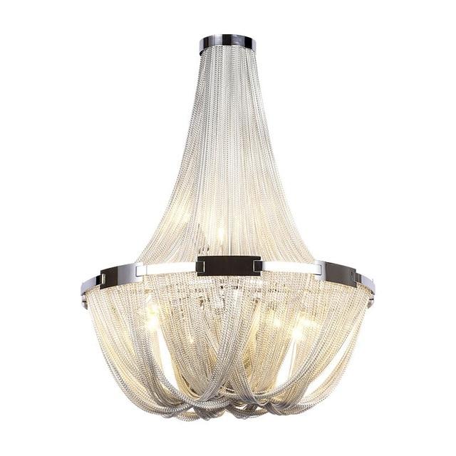 Modern Luxury Silver Gold Tassel Aluminum Chain LED Pendant Lights for Dining Room Restaurant Bar Post Modern Pendant Lamp