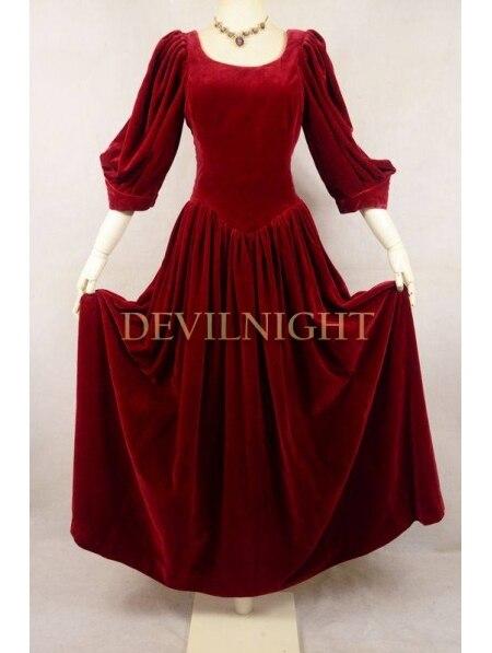 Rouge velours 3/4 manches robe victorienne médiévale