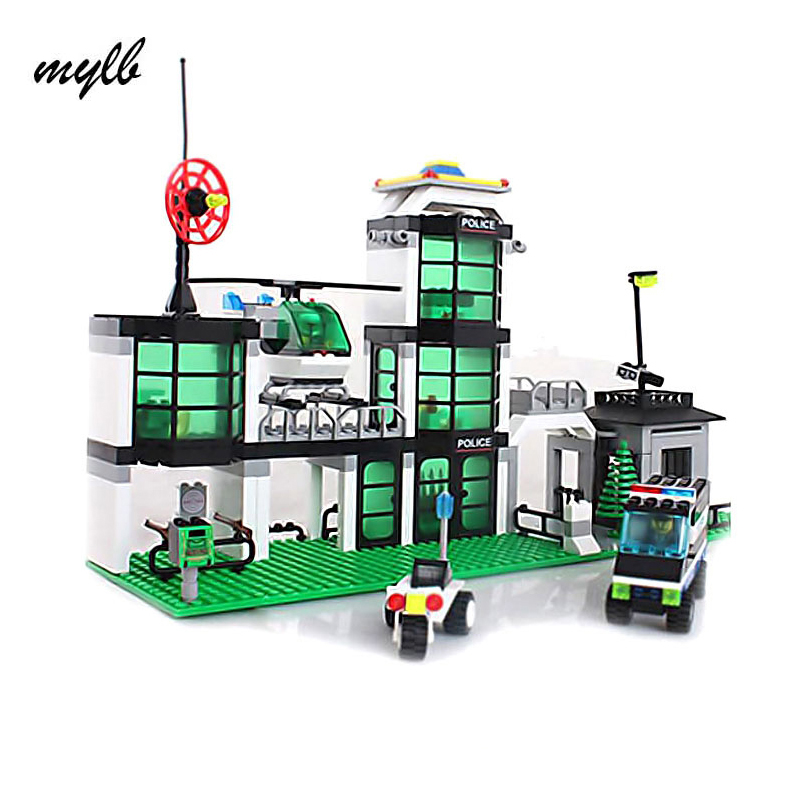 mylb model building kits compatible with city Hotel De Police 3D blocks Educational model & building toys hobbies for kids