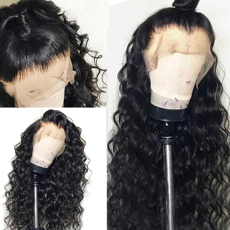 BINF Mongolian 360 Lace Front Wig Water Wave Human Hair Wigs Pre Plucked With Baby Hair