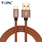 TOPK Micro USB Cable 2.4A Fast Charger & Data Cable Leather Braided Cable Mobile Phone USB Charger Cable For Samsung HTC Huawei