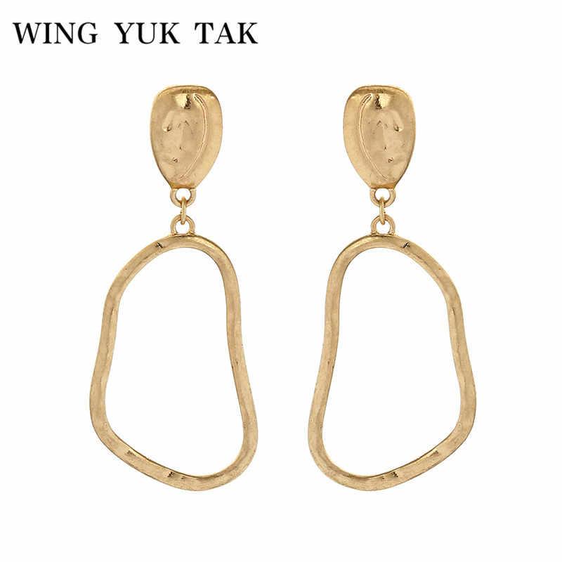 Крыло ЮК tak дешевые ювелирные изделия Модные золотые цвет простой серьги  нерегулярные Висячие пустотелые серьги для 05c51897bca