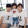 2016 Brand Summer Family Print Letter I Love You Cotton Family Clothing Set Mother Dad And Kids Short-Sleeve T-shirt Clothes Set