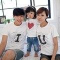 2016 Marca de Verano de la Familia de Impresión Carta Te Amo Algodón Ropa de la familia Establece Madre Papá Y Los Niños de Manga Corta T-shirt Ropa conjunto